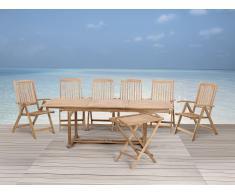 Holz Gartenmöbel Set - Gartentisch - 6x Stuhl - 1x Teetisch - RIVIERA