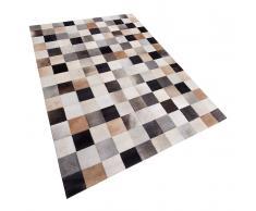 Teppich braun-beige-grau 160 x 230 cm Leder SOKE