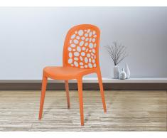 Esszimmerstuhl orange Kunststoff RUBIN