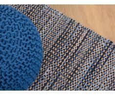 Teppich Marineblau - 80x150 cm - Baumwolle - Läufer - Vorlage - Wohnzimmerteppich - TALAS
