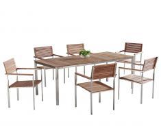 Teak-Stahl Gartenmöbel - Esstisch 200x90 - 6 x Stuhl - VIAREGGIO