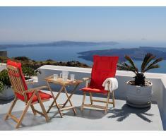 Gartenmöbel - Balkonmöbel - Holzmöbel - Tisch mit 2 Stühlen und 2 Terracotta Hell Auflagen - RIVIERA