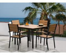 Aluminium Gartenmöbel Set Braun - Sitzgruppe - Tisch 95x95 cm + 4 Stühle - Polywood - PRATO