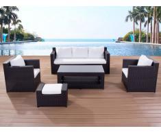 Lounge Set Rattan braun 6-Sitzer Auflagen beige ROMA