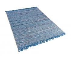 Teppich blau 140 x 200 cm Kurzflor BESNI