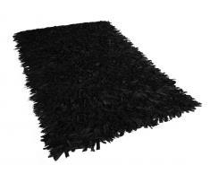 Teppich schwarz 140 x 200 cm Leder MUT