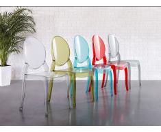 Stuhl Transparent Rot - Esszimmerstuhl - Küchenstuhl - Essstuhl - MERTON