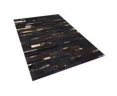 Teppich braun-gold 160 x 230 cm Leder ARTVIN