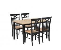 Essgruppe schwarz Holz 4-Sitzer 120 x 75 cm HOUSTON