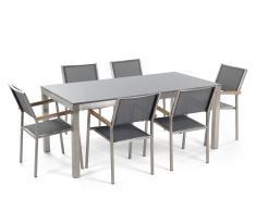Gartenmöbel Set Granit grau poliert 180 x 90 cm 6-Sitzer Stühle Textilbespannung grau GROSSETO