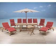 Gartenmöbel Set aus Holz - Tisch eckig - 6x Stuhl - 2x Liege - Sonnenschirm - RIVIERA terracotta
