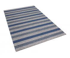 Teppich blau-grau 140 x 200 cm Kurzflor PATNOS