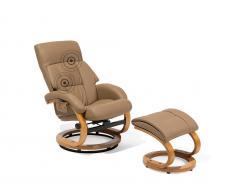 Bürostuhl beige Kunstleder Massagefunktion mit Fusshocker FORCE