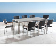 Gartenmöbel hellgrau poliert - Granit Edelstahltisch 220cm dreifach mit 8 x Rattan Stühle - GROSSETO