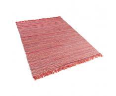 Teppich Rot - 140x200 cm - Baumwolle - Läufer - Vorlage - Wohnzimmerteppich - BESNI