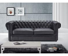 Sofa Leder schwarz CHESTERFIELD