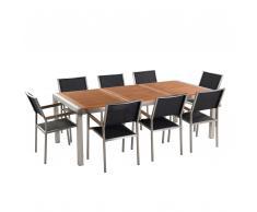 Gartenmöbel Set Mahagoniholz 220 cm 8-Sitzer Textilbespannung schwarz GROSSETO