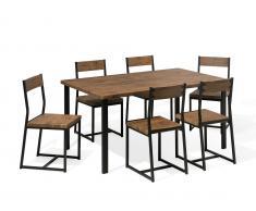 Essgruppe braun Stahl 6-Sitzer 150 cm LAREDO