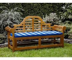 Gartenbank Holz 180 cm mit Auflage blaues Zickzack Muster JAVA MARLBORO