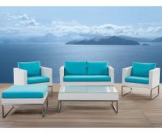 Gartenmöbel Set aus Edelstahl und Rattan - Tisch - Sofa - 2x Sessel - Ottoman - CREMA türkis