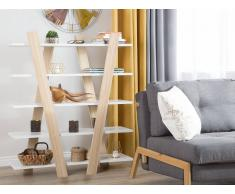 Bücherregal heller Holzfarbton/weiss 5 Fächer ESCALANTE