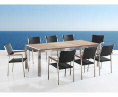 Gartenmöbel - Edelstahltisch mit Holzplatte 220cm dreifach mit 8 x Rattan Stühle - GROSSETO