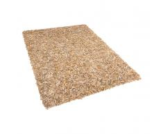 Teppich beige 160 x 230 cm Leder MUT