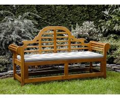 Gartenbank Holz 180 cm mit Auflage grau-beiges Zickzack Muster JAVA MARLBORO
