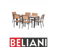 Aluminium Gartenmöbel Set Braun - Sitzgruppe - Tisch 150 cm + 6 Stühle - Polywood - COMO