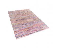 Teppich Bunt-Weiss - 140x200 cm - Baumwolle - Läufer - Wohnzimmerteppich - BARTIN