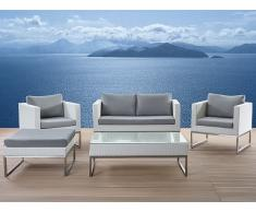 Lounge Set Rattan weiss 5-Sitzer Auflagen grau CREMA
