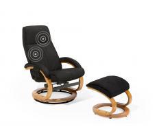 Bürostuhl schwarz Massagefunktion mit Fusshocker HERO