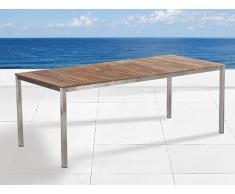 Gartentisch Edelstahl/Teakholz braun 200 x 90 cm VIAREGGIO
