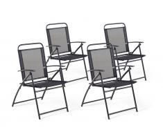 Gartenstuhl schwarz Aluminium klappbar 4er Set LIVO