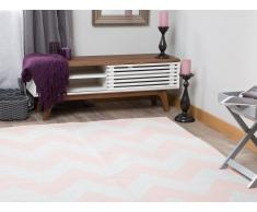 Teppich rosa mit Zickzackmuster 140 x 200 cm Kurzflor KONARLI