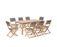 Gartenmöbel Set Holz 8-Sizer Textilene dunkelgrau CESANA