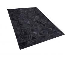 Teppich Leder schwarz 140 x 200 cm KASAR