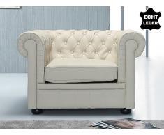 Sessel aus echtem Leder - CHESTERFIELD beige