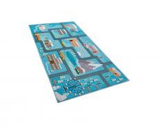 Kinderteppich blau Stadt-Motiv 80 x 150 cm KIGI