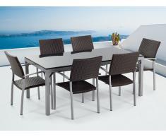 Granit Gartentisch 180 cm - 6x Rattan Stuhl - Esstisch - Rattanmöbel - Gartenmöbel - TORINO schwarz poliert