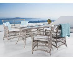 Gartenmöbel Set Rattan hellbraun/cremeweiß 4-Sitzer Kissen beige BARLETTA