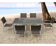 Granit Gartentisch 180 cm - 6x Rattan Stuhl - Esstisch - Rattanmöbel - Gartenmöbel - TORINO