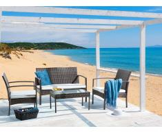 Lounge Set Rattan braun 4-Sitzer Auflagen beige MARSALA