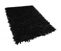 Teppich schwarz 160 x 230 cm Leder MUT