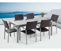 Granit Gartentisch 180 cm - 6x Rattan Stuhl - Esstisch - Rattanmöbel - Gartenmöbel - TORINO grau poliert
