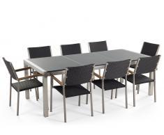 Gartenmöbel grau poliert - Granit Edelstahltisch 220cm dreifach mit 8 x Rattan Stühle - GROSSETO