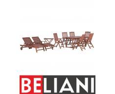 Gartenmöbel Set Holz 180-220 x 100 cm ausziehbar 6-Sitzer 2 Liegen TOSCANA