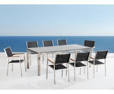 Gartenmöbel hellgrau poliert - Granit Edelstahltisch 220cm dreifach mit 8 x Stühle mit Textilsitzfläche - GROSSETO