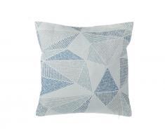 Dekokissen geometrische Formen blau/grau 45 x 45 cm BRUNNERA