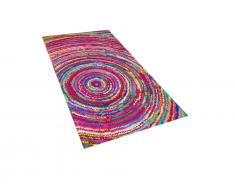 Teppich Bunt - Läufer - Vorlage - Designerteppich - Baumwollteppich - 80x150 cm - MALATYA
